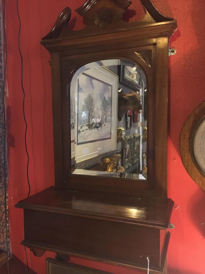 Mahogany Hallway Mirror With Glove Box