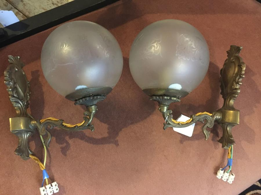 Pair Of French Frosted Glass Wall Lights