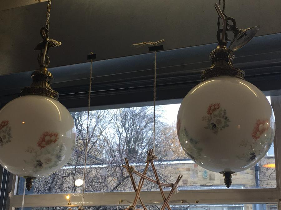 Pair Of Milk Glass Hanging Lamps