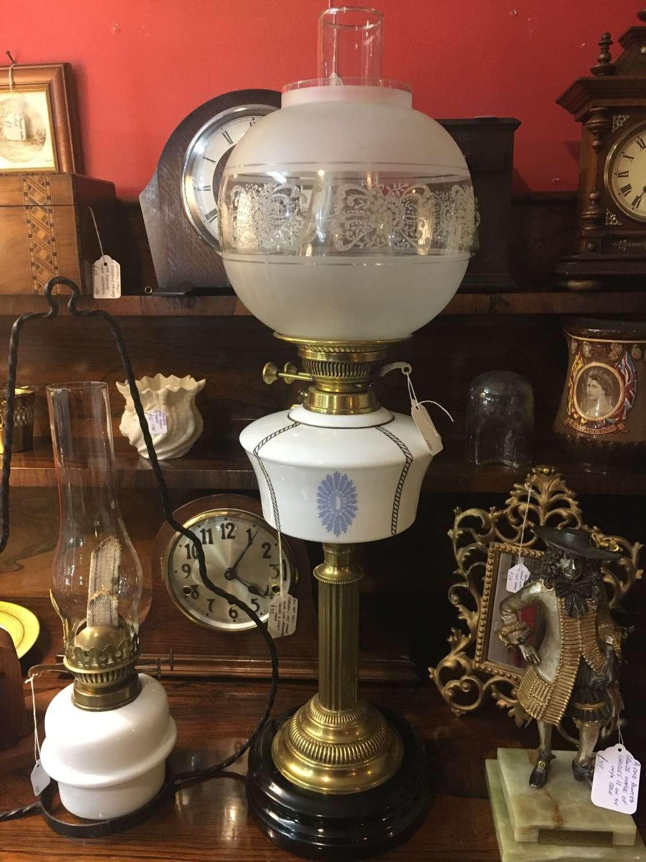 Victorian Milk Glass Oil Lamp
