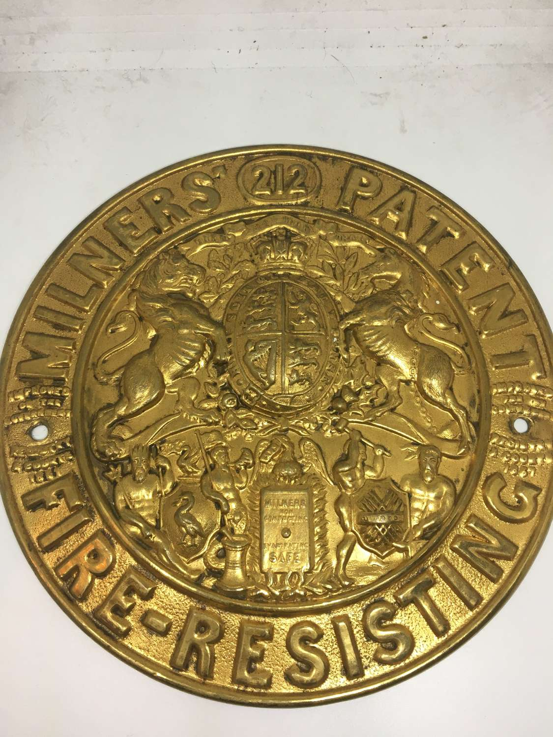 Salvaged Brass Plaque From A Milners' Safe