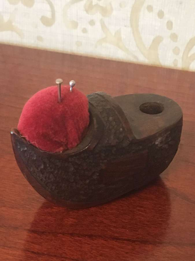 Vintage Wooden Pin Cushion As A Clog