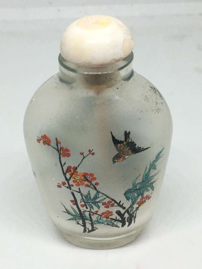 Reverse Painted Glass Chinese Scent Bottle