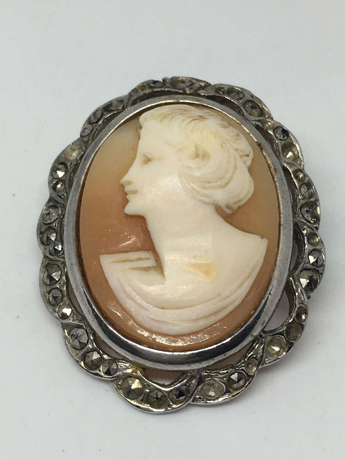 Antique Cameo Brooch With Marcasite Stones