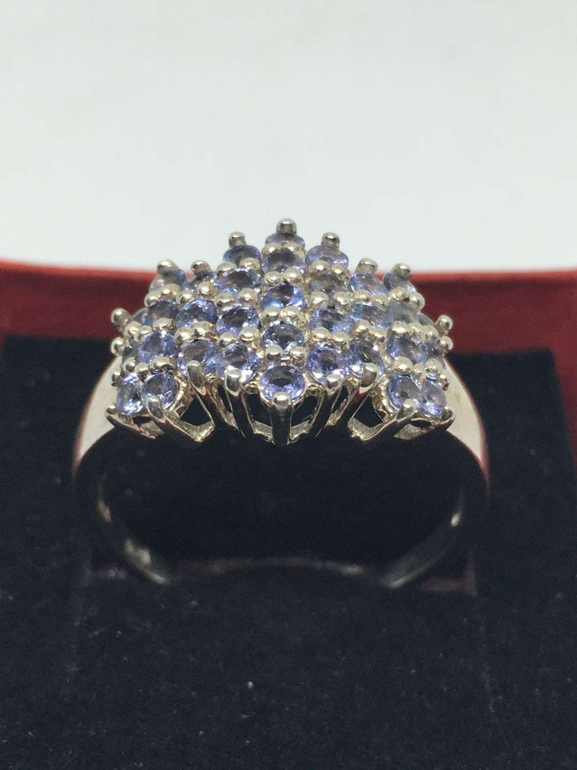 925 Silver Ring With Diamond Cluster