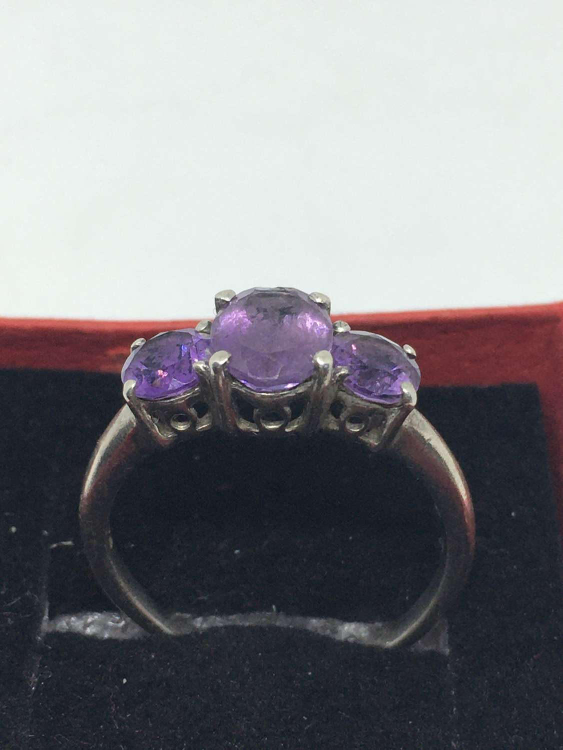925 Silver Ring With Three Purple Stones