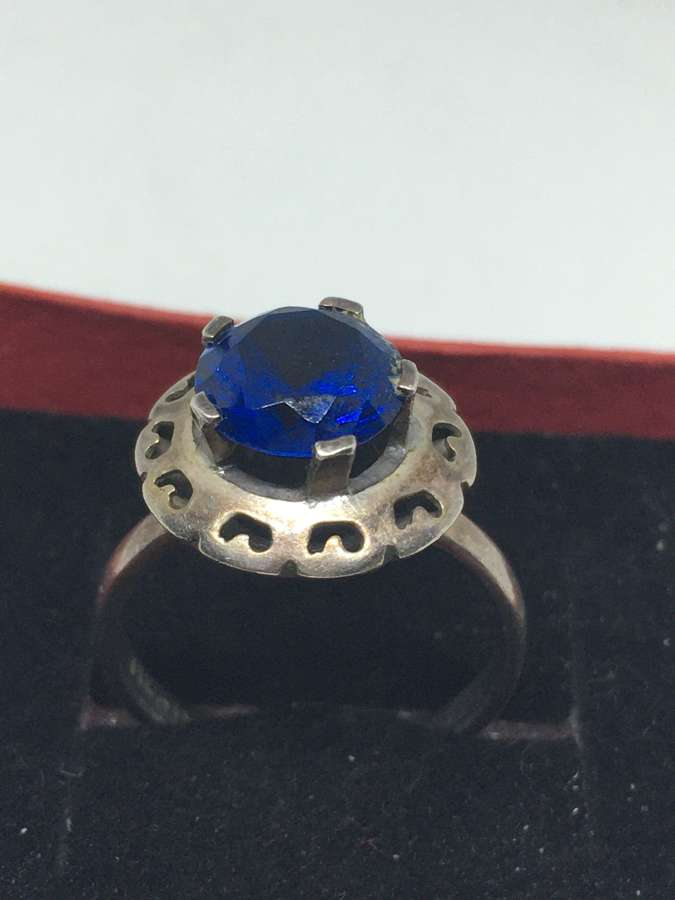 Mexican Silver Ring With Blue Stone