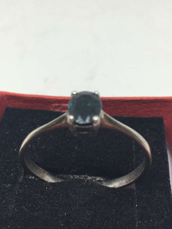 925 Silver Ring With Blue Stone