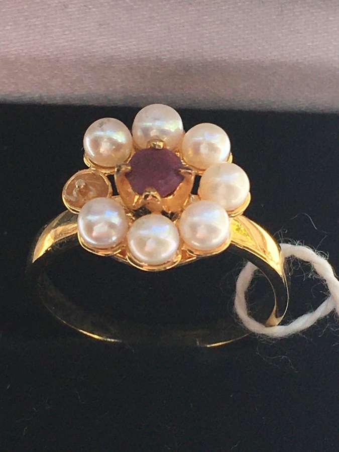 Gold Plated Cluster Ring With Ruby Colour Stone & Seed Pearls