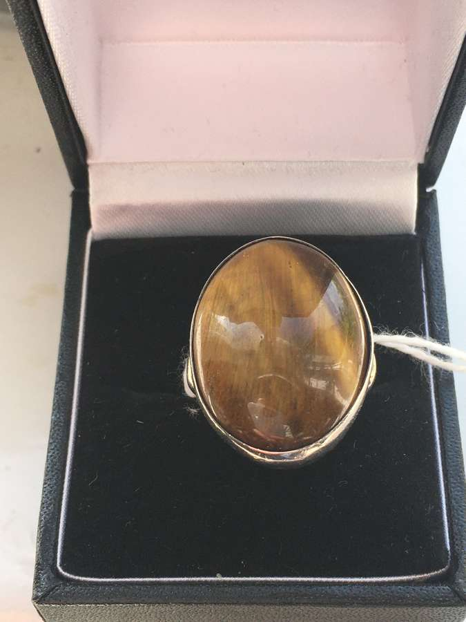 Silver Ring With Large Butterscotch Stone