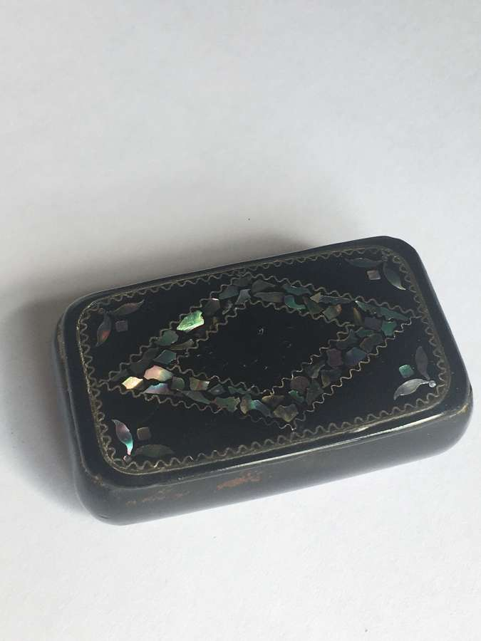 Small Antique Papier Mache Snuff Box