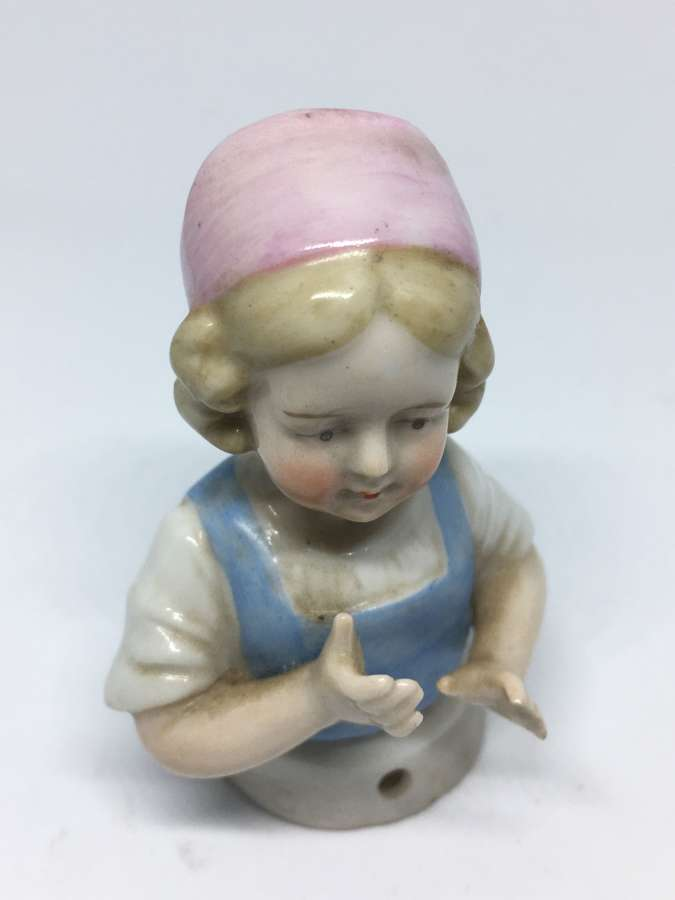 Antique Ceramic Half Doll Pin Cushion