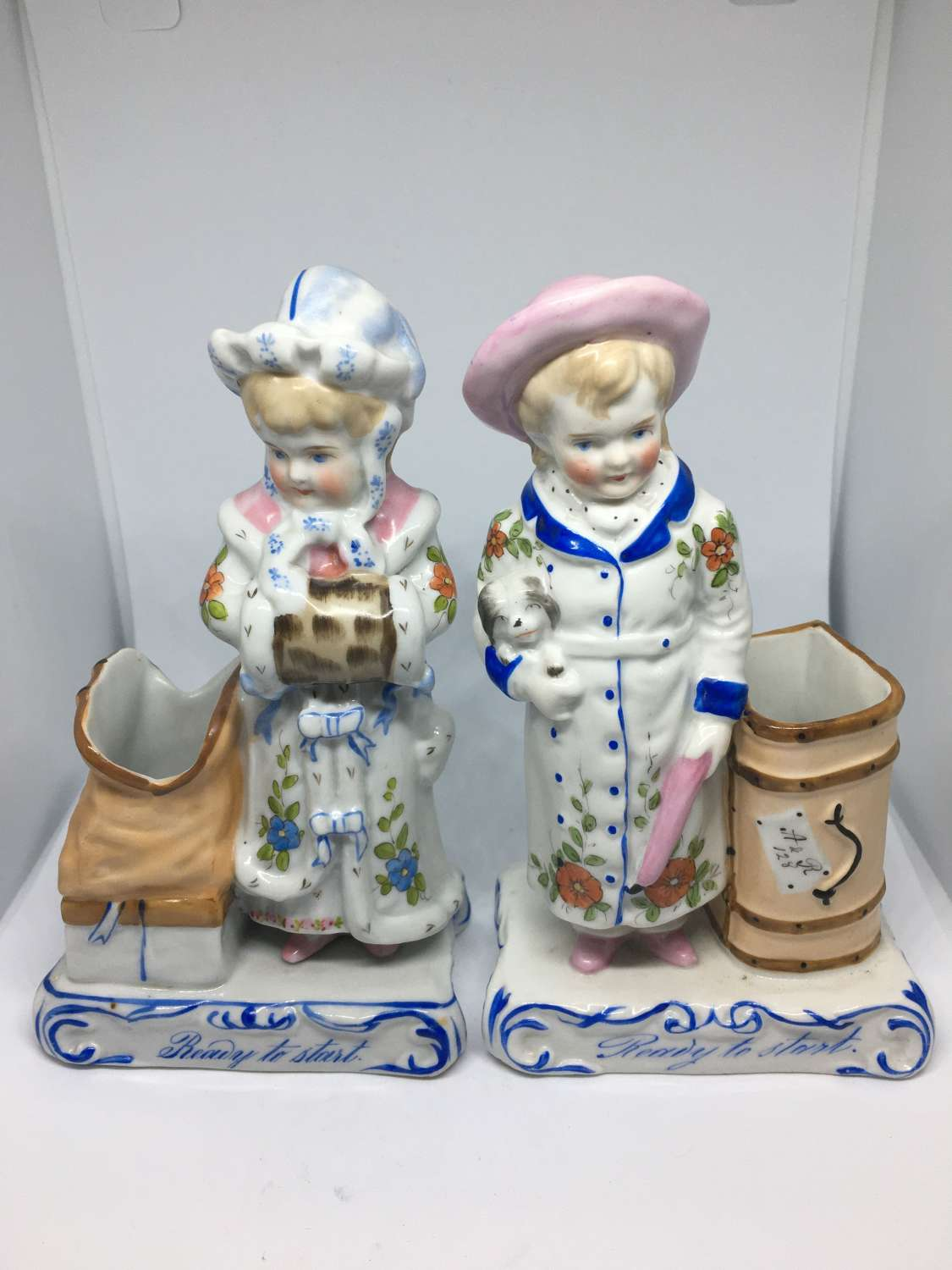 Pair Of 19th Century Ceramic Vesta Holders