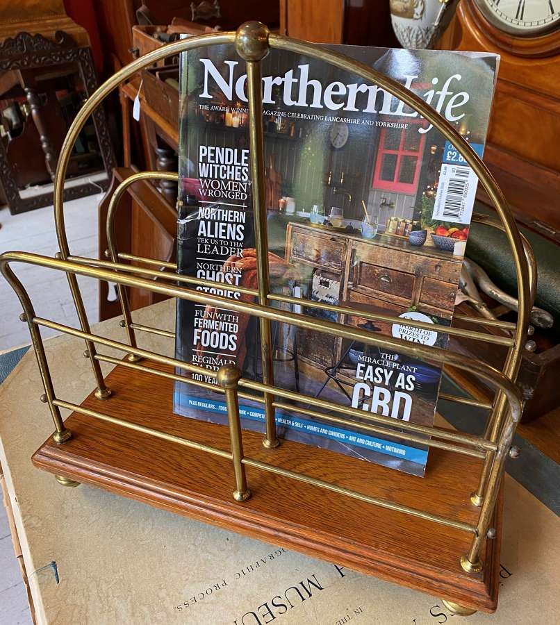 Edwardian Brass & Mahogany Magazine Rack