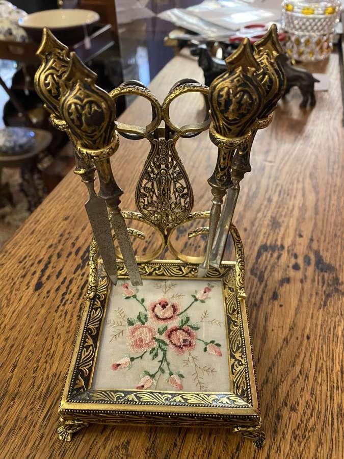 Ornate Brass & Embroidered Manicure Set
