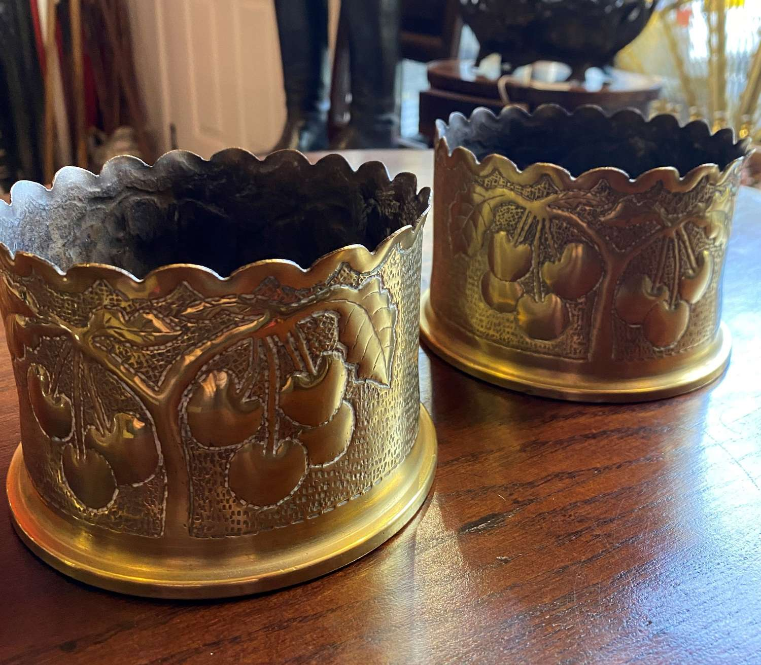Pair Of WW1 Trench Art Candle Holders