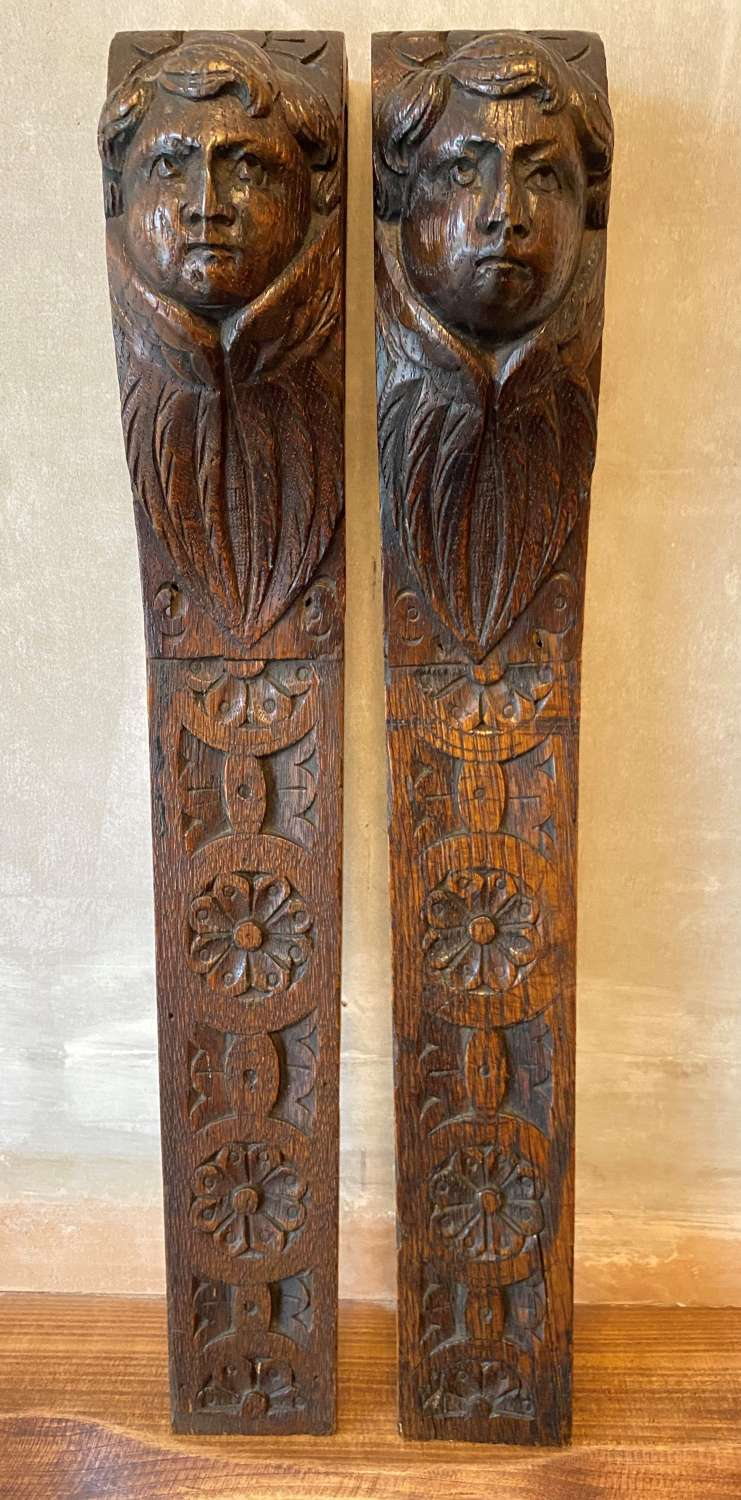 Pair Carved Oak Terminals From Early 17th Century