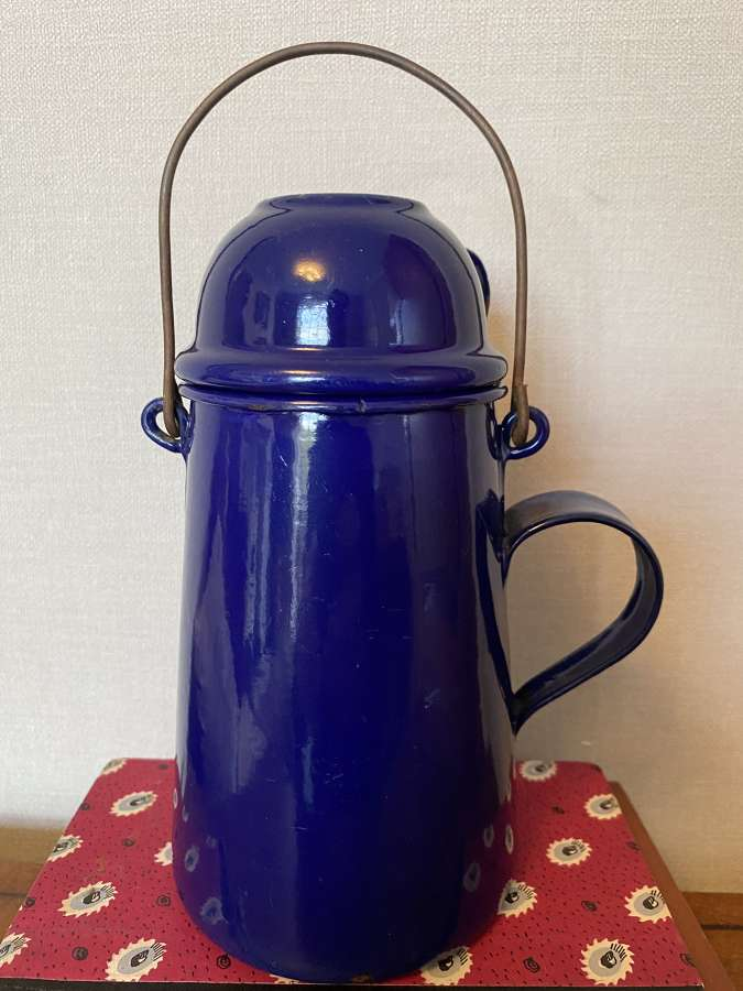 Vintage French Blue Enamel Water Jug & Cup