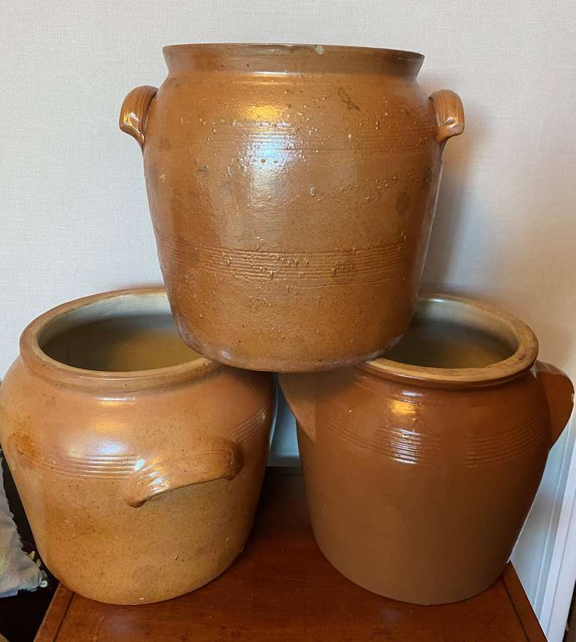 Large French Glazed Terracotta Confit Pots