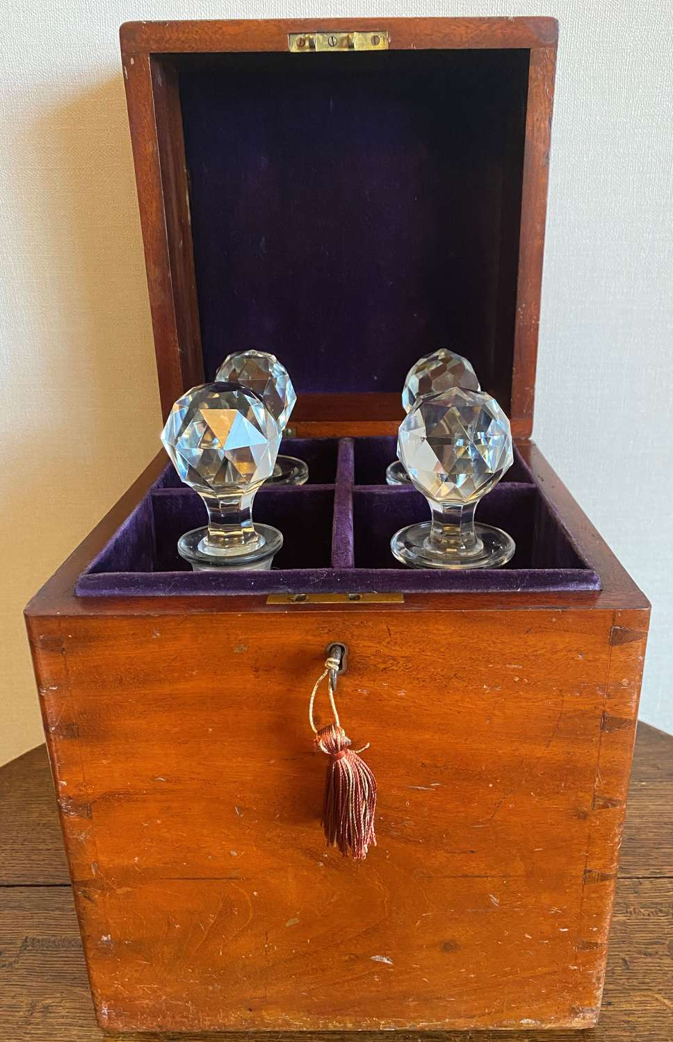 19th Century Four Divisional Decanter Box With Decanters