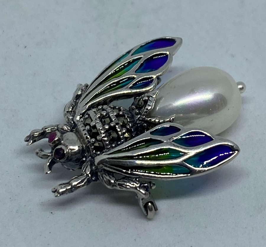 Silver Plique-A-Jour Insect Brooch