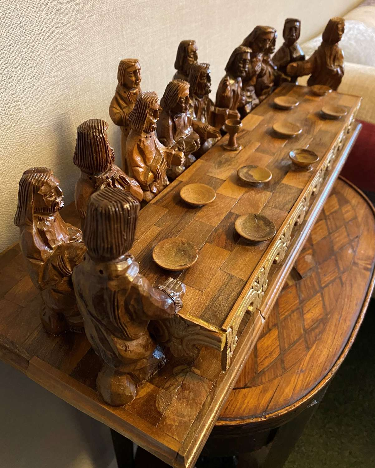 Stunning Quality Olive Wood Last Supper Carving