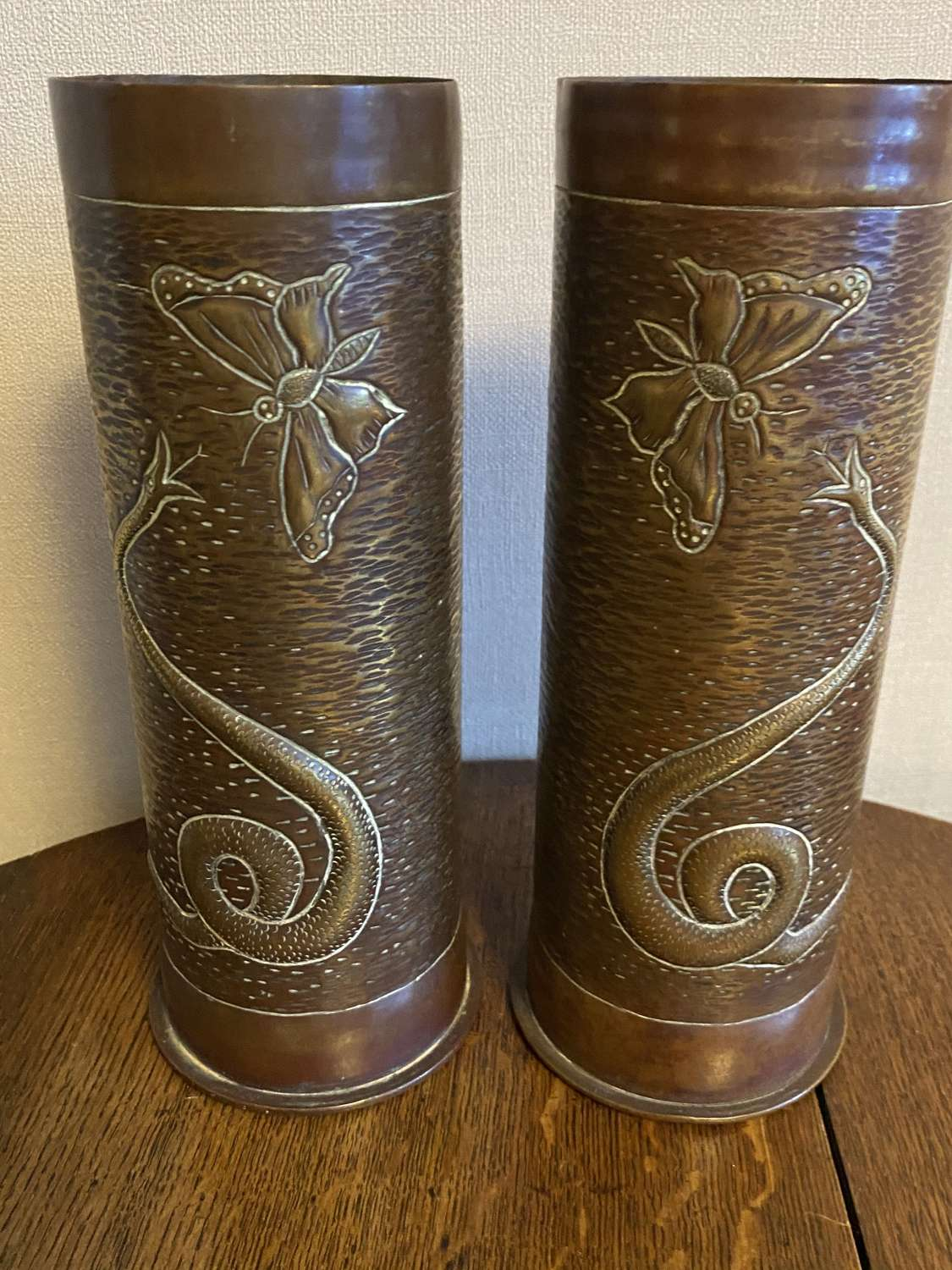 Pair Of WW1 Trench Art Shell Case Vases