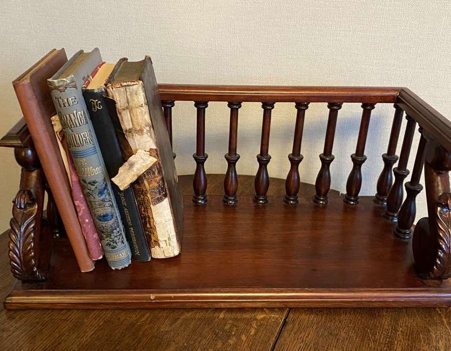 Carved Mahogany Desk Top Book Trough