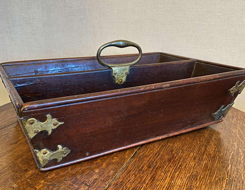 George III Mahogany & Brass Dovetailed Cutlery Tray