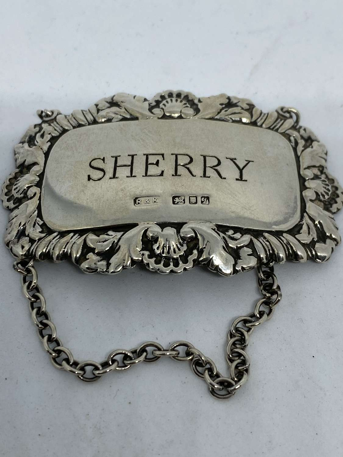 Solid Silver Sherry Decanter Label