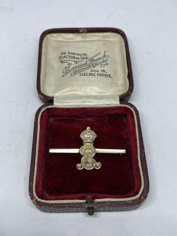King Edward VII Silver Bar Brooch