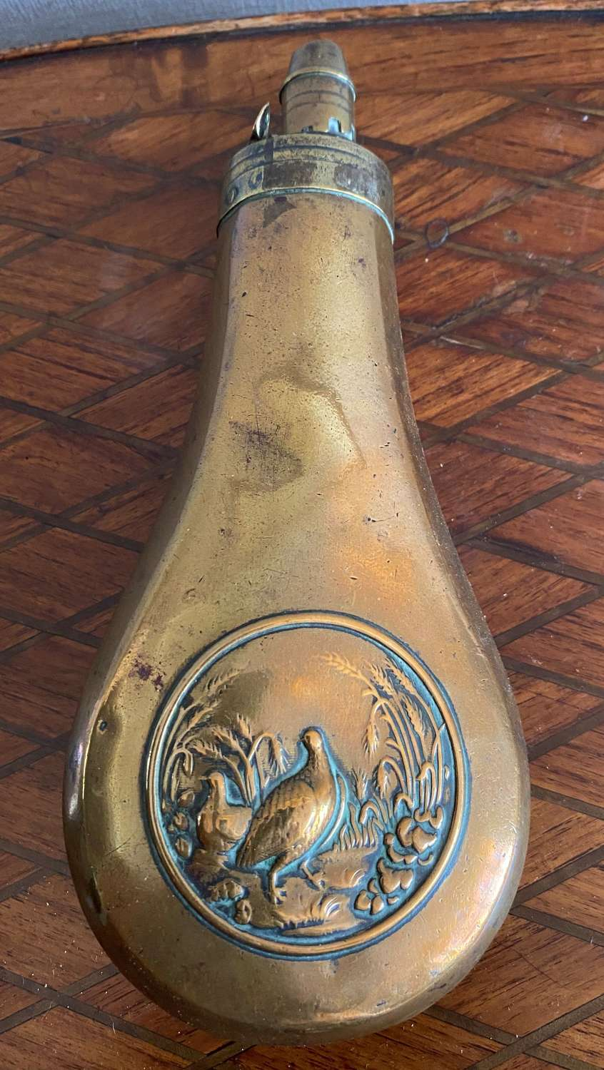 Victorian Copper Powder Flask With Game Birds