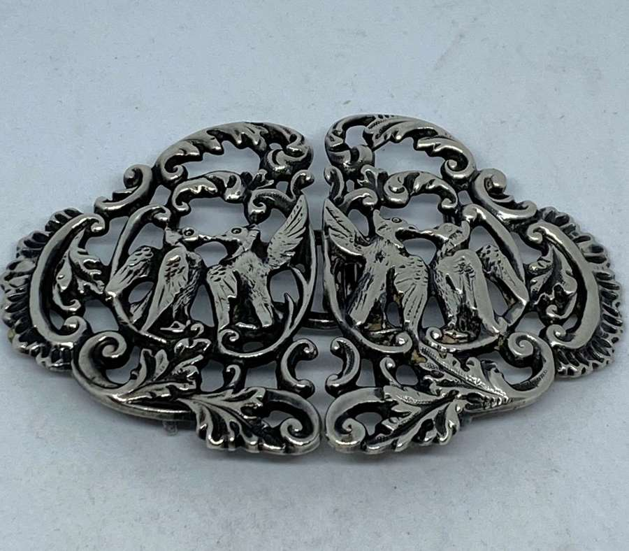 Solid Silver Nurses Belt Buckle 1899