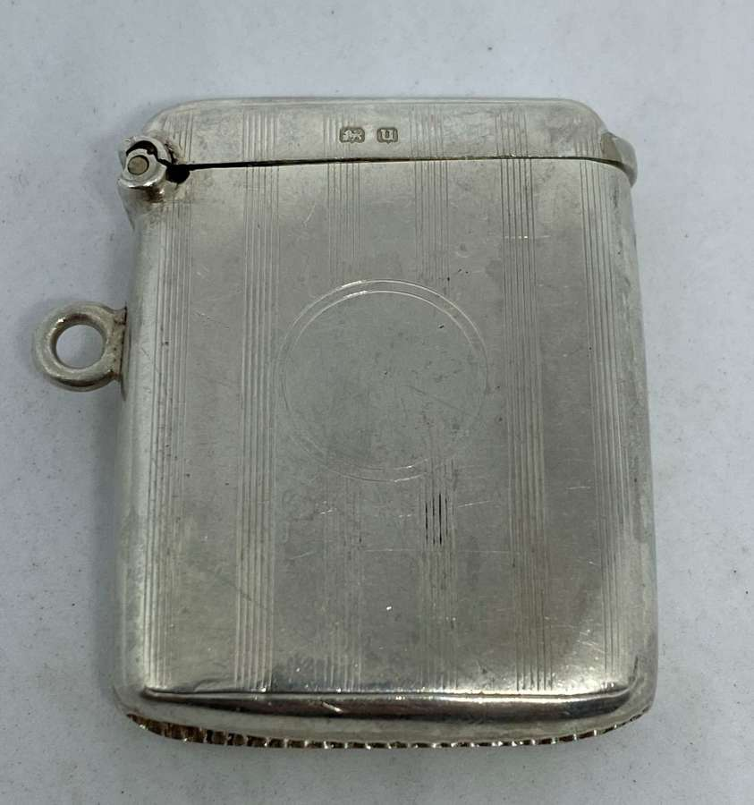 Antique Solid Silver Vesta Case