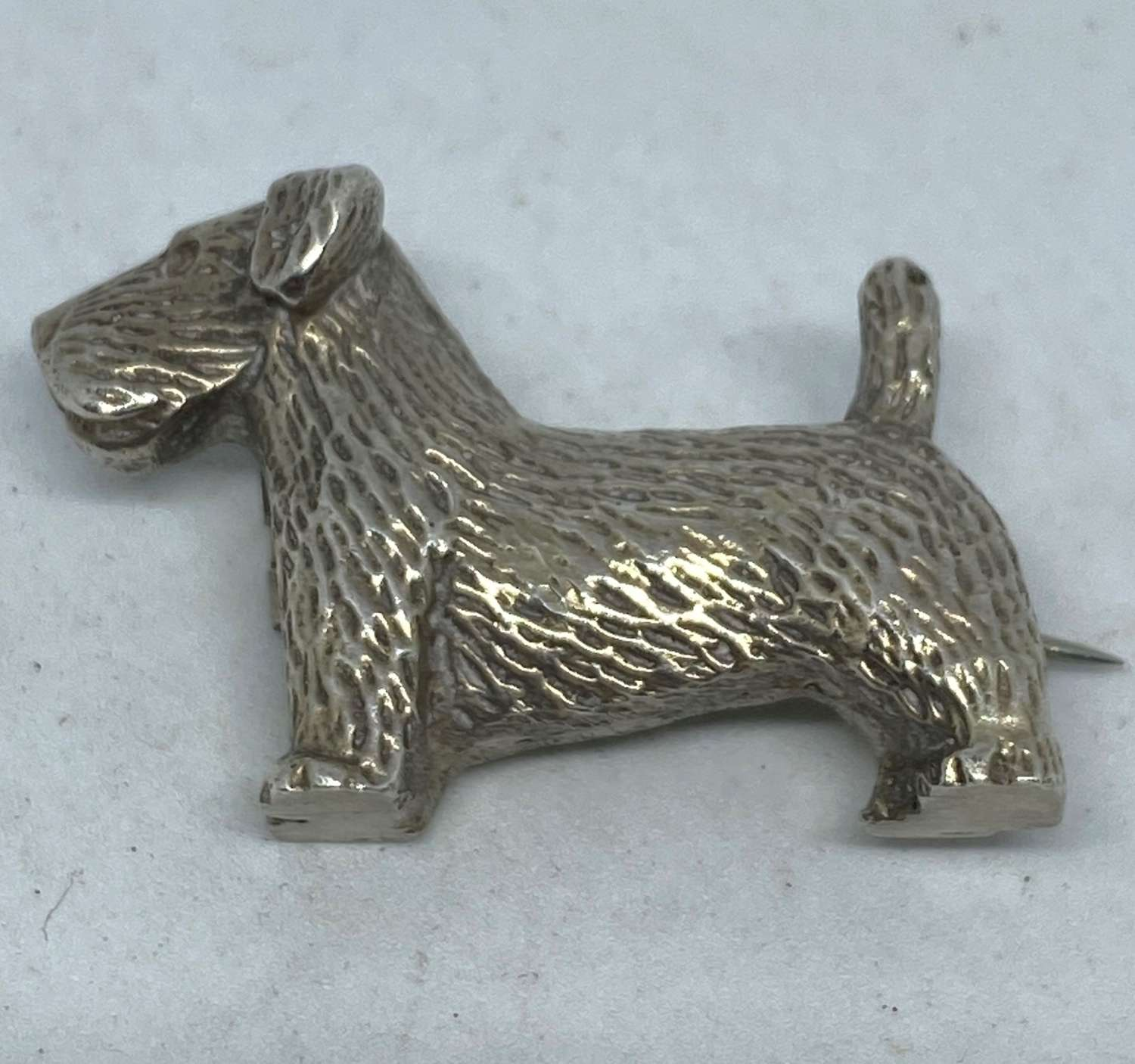 Solid Silver Scottie Dog Brooch