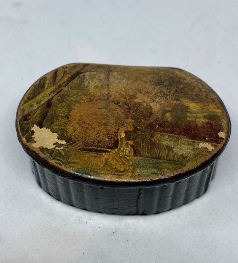 Late Georgian Papier Mache Snuff Box With Painted Lid