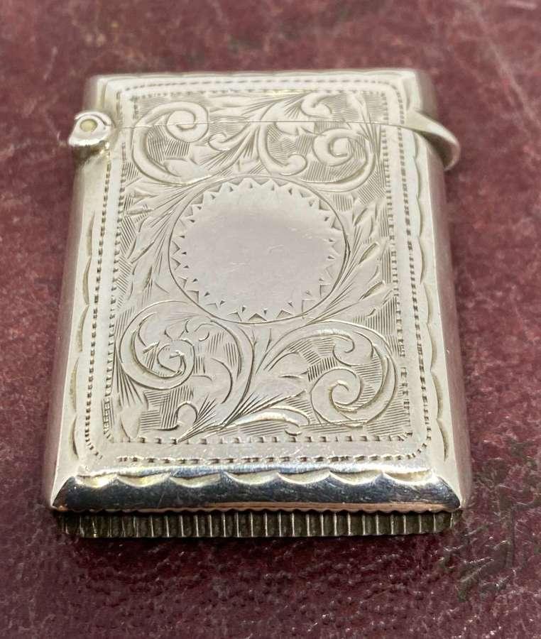 Quality Solid Silver Vesta Case Birmingham 1909