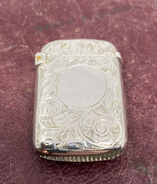 Fine Gilded Solid Silver Vesta Case Birmingham 1891 William Neale