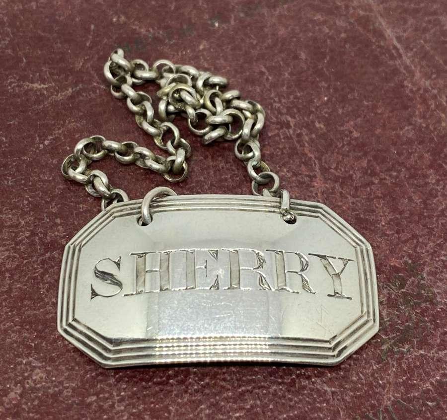 Georgian Solid Silver Decanter Label 1825