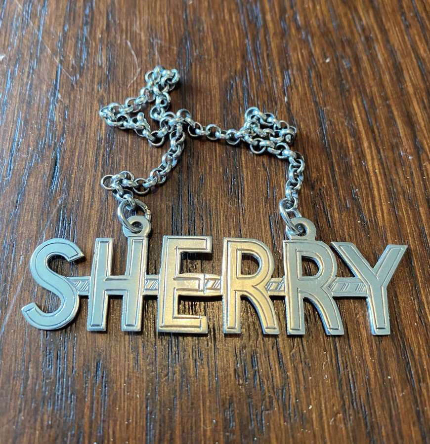 Solid Silver Art Deco Decanter Label - SHERRY