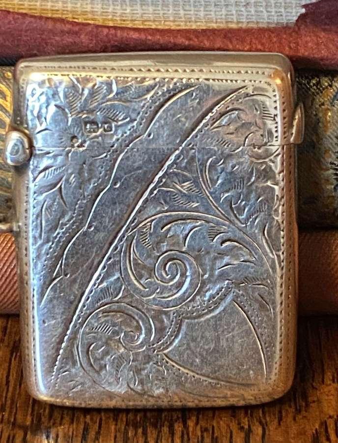 Solid Silver Vesta Case Chester 1903