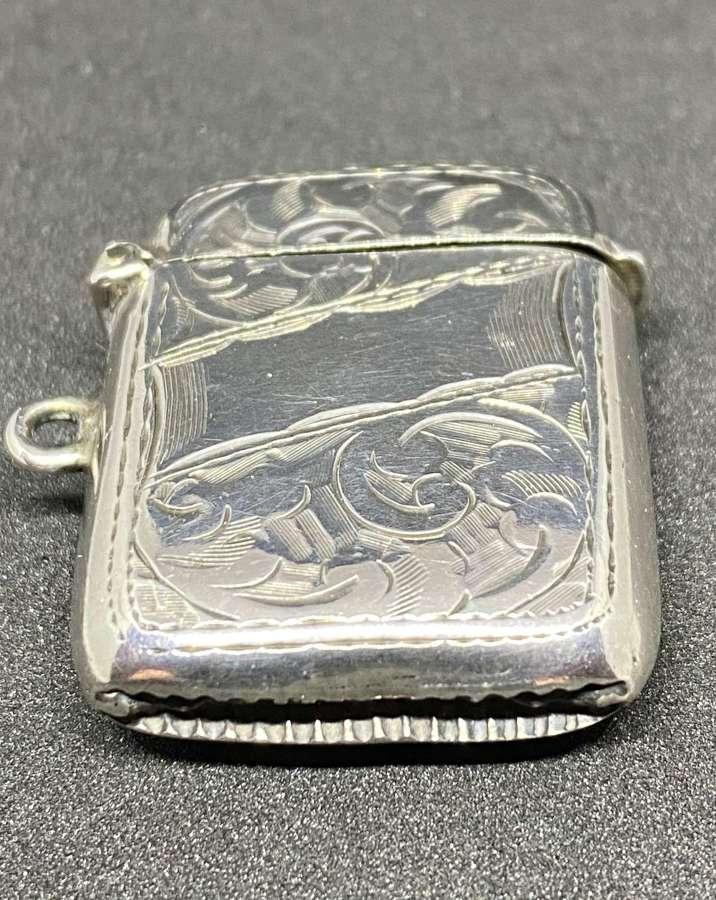Antique Solid Silver Vesta Case 1913