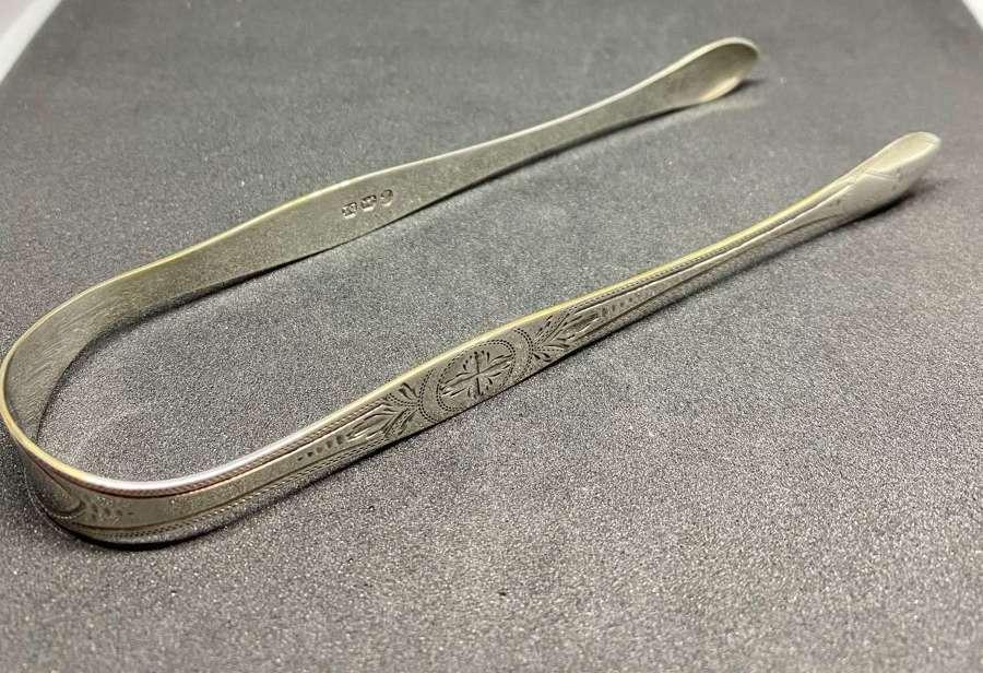 Solid Silver Georgian Sugar Tongs 1807 Peter & William Bateman