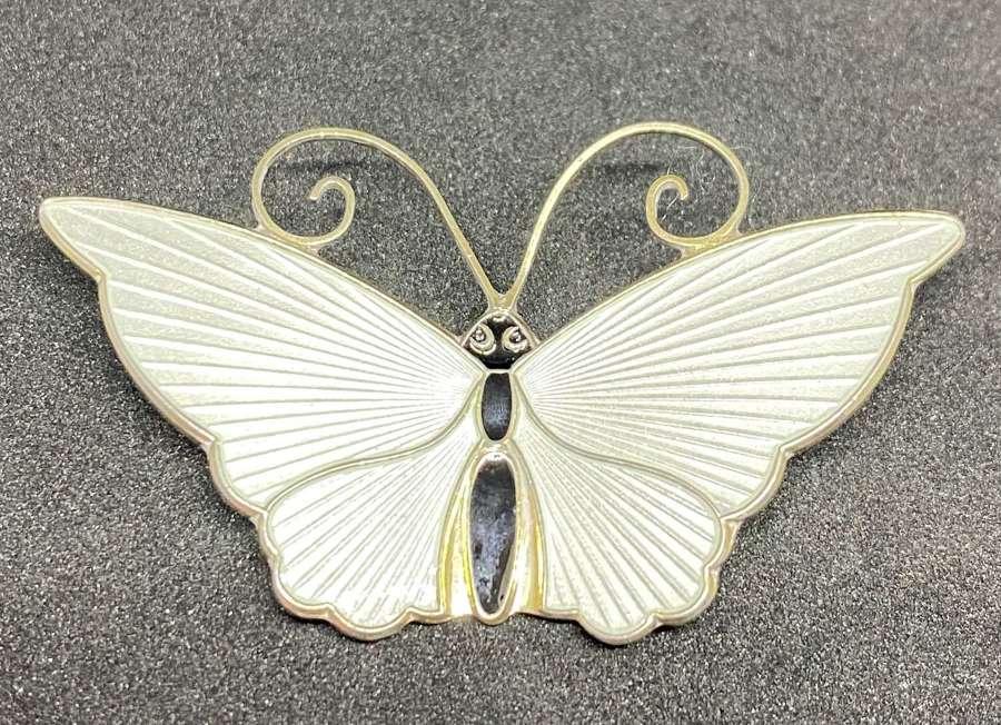 Silver & Guilloche Enamel David Andersen Butterfly Brooch