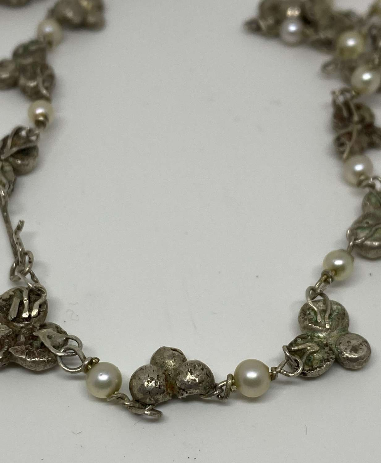 Vintage Sterling Silver & Cultured Pearl Necklace