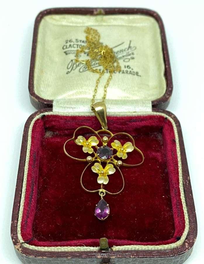 Antique Edwardian 9ct Gold & Garnet Pendant Necklace