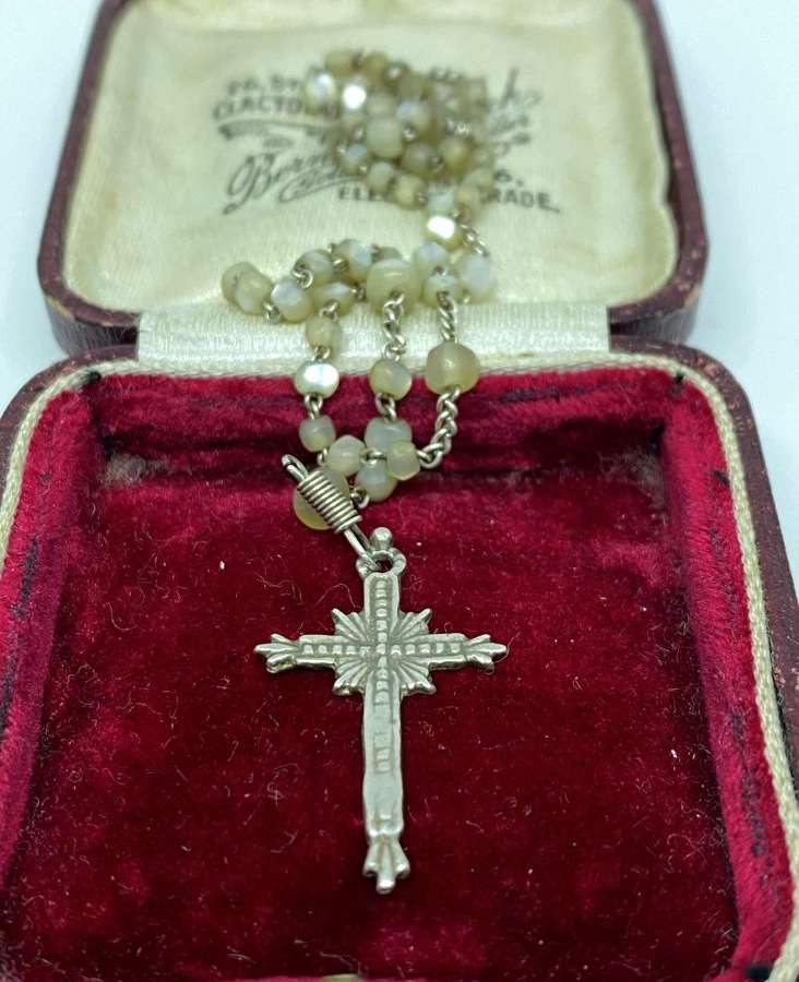 Antique Sterling Silver & MOP Rosary Bead Necklace.