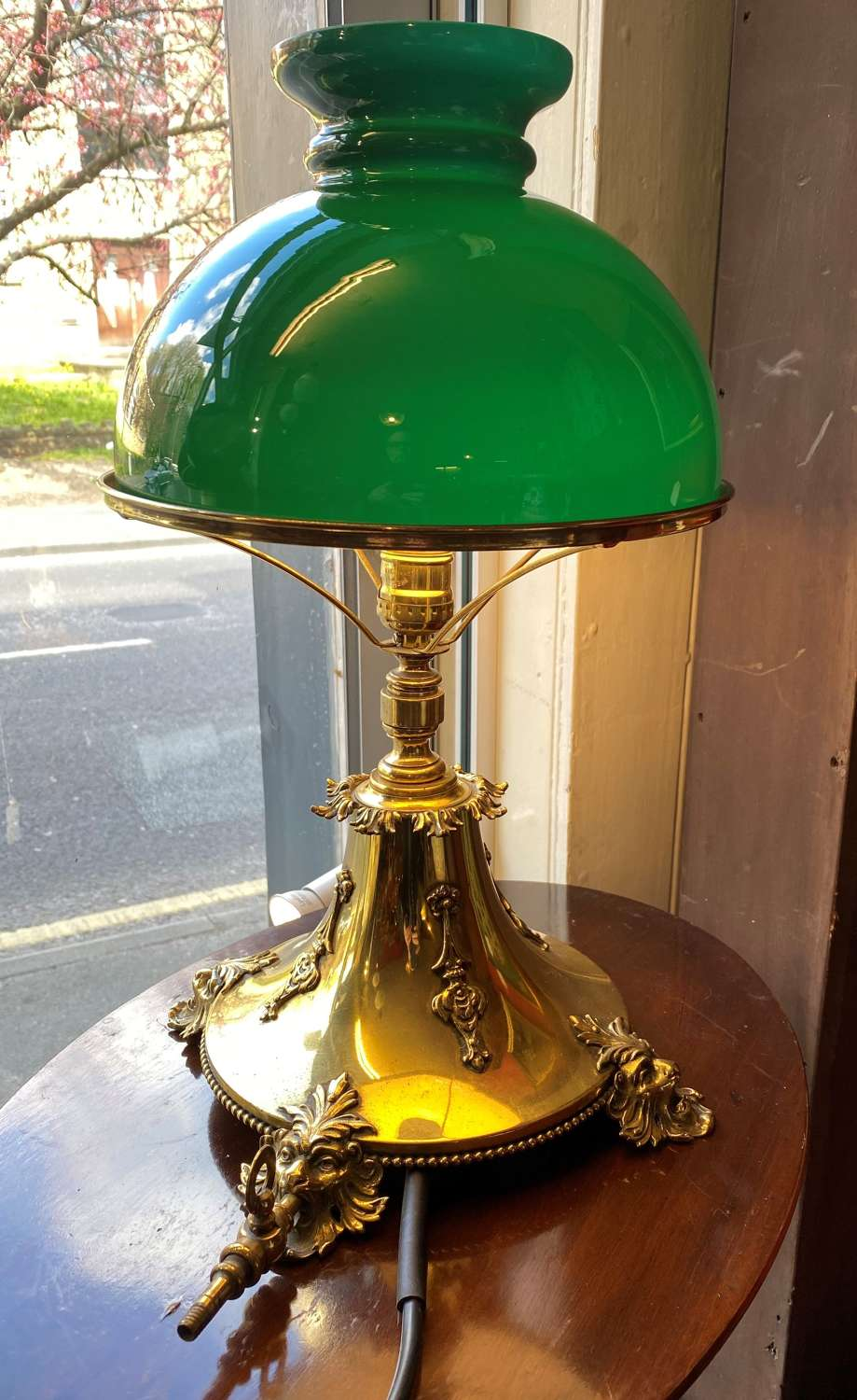 19th Century Brass & Green Glass Table Lamp