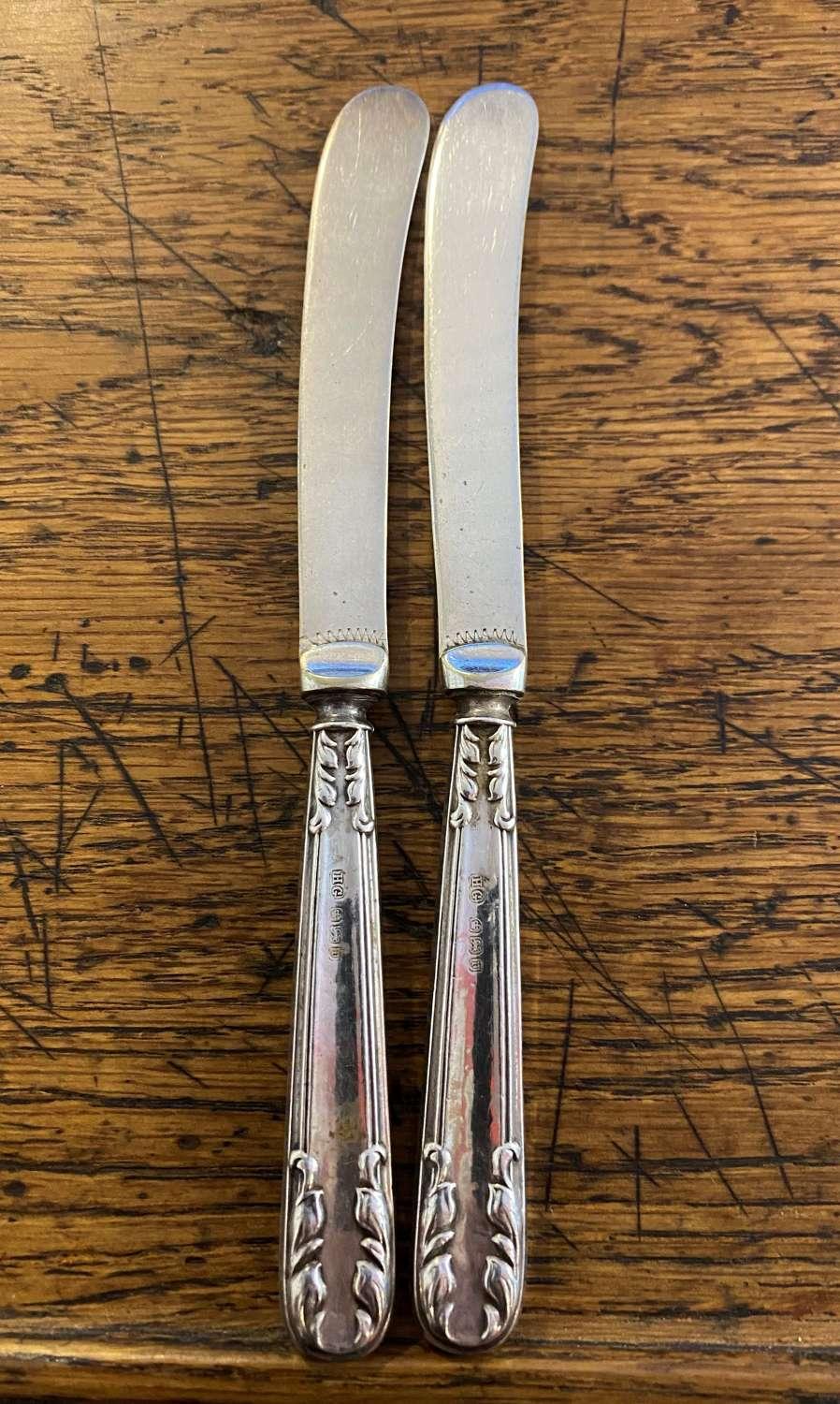 Pair Of Solid Silver Handled Butter Knives