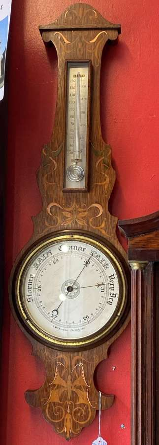 Edwardian Banjo Barometer With Butterfly Inlaid Detailing